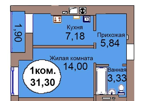 1-комн. кв. МКР Васильково Дом 3 по ГП секция 1, кв. 3 в Калининграде