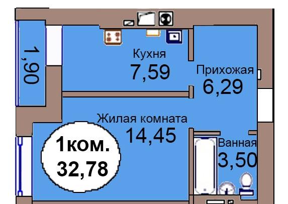 1-комн. кв. МКР Васильково Дом 3 по ГП секция 1, кв. 59 в Калининграде