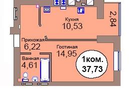 1-комн. кв. МКР Васильково Дом 2 по ГП секция 1, кв. 58 в Калининграде
