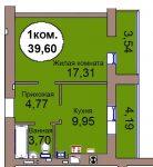 Однокомнатная квартира МКР Васильково Дом 3 по ГП секция 1, кв. 64