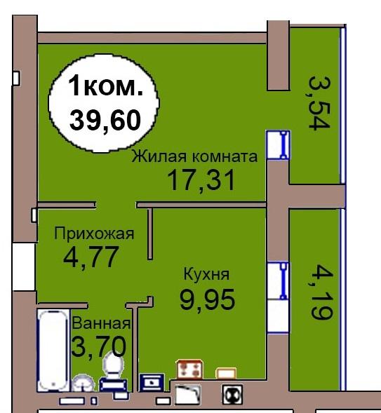 1-комн. кв. МКР Васильково Дом 3 по ГП секция 1, кв. 32 в Калининграде