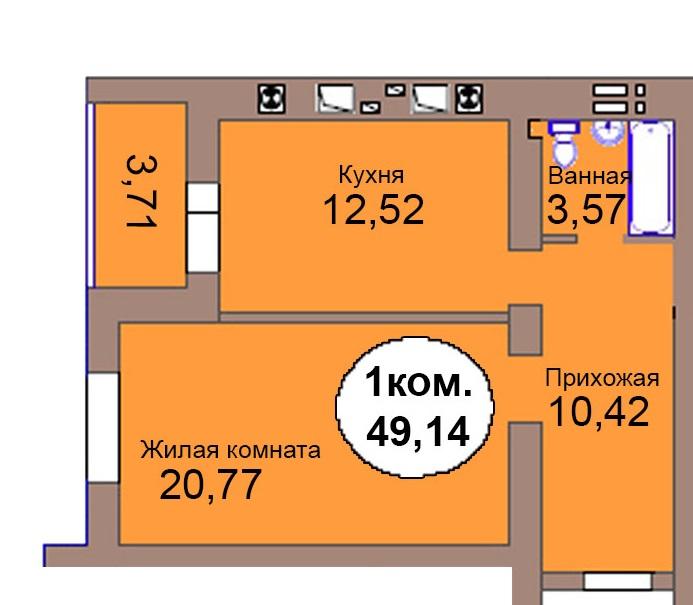 1-комнатная квартира МКР Васильково Дом 2 по ГП секция 2, кв. 125
