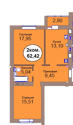 2-комн. кв. МКР Васильково Дом 3 по ГП секция 3, кв. 199 в Калининграде