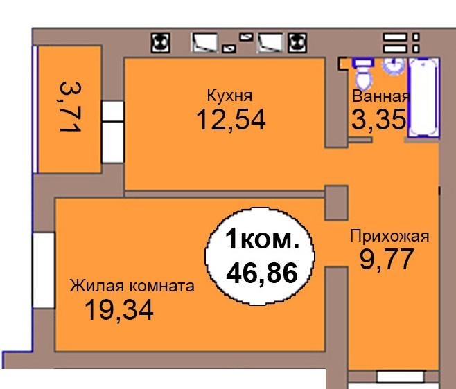 1-комн. кв. Микрорайон Васильково Дом 2 по генплану, секция 2, кв. 107 в Калининграде