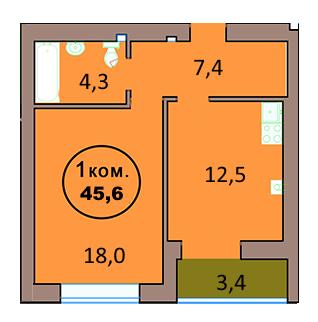 1-комн. кв. по ул. Красная 139А, секция 2, кв 116