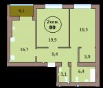 2-комн. кв. по ул. Красная 139А, секция 2, кв 132 в Калининграде