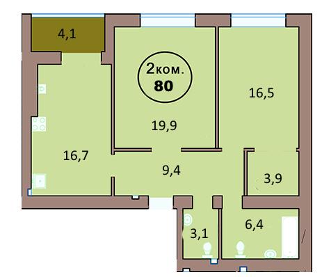 2-комн. кв. по ул. Красная 139А, секция 2, кв 132