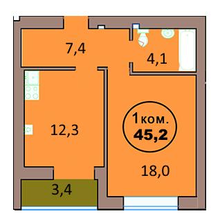 1-комн. кв. по ул. Красная 139А, секция 2, кв 133 в Калининграде