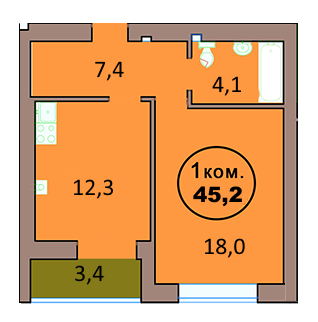 1-комн. кв. по ул. Красная 139А, секция 2, кв 133