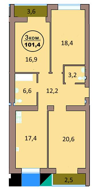 3-комн. кв. по ул. Красная 139А, секция 2, кв 142 в Калининграде