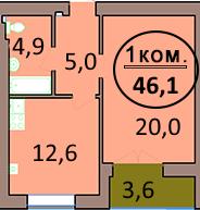 1-комн. кв. по ул. Красная 139А, секция 1, кв 53 в Калининграде