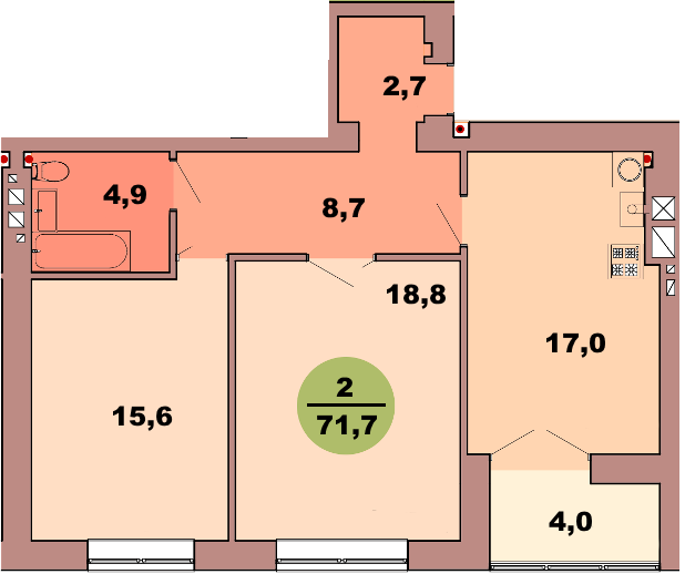 2-комнатная квартира по ул. Красная 139Б, секция 2, кв 60
