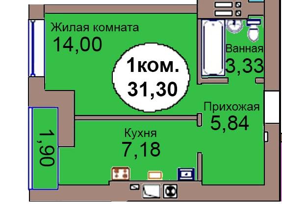 1-комн. кв. МКР Васильково Дом 3 по ГП секция 1, кв. 54 в Калининграде