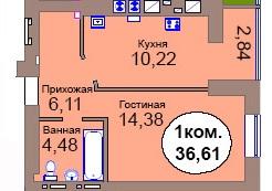 1-комн. кв. МКР Васильково Дом 2 по ГП секция 6, кв. 412 в Калининграде