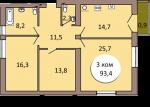 3-комнатная квартира ул. Шахматная 2В кв. 21