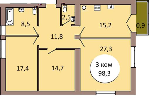 3-комнатная квартира ул. Шахматная 2В кв. 26