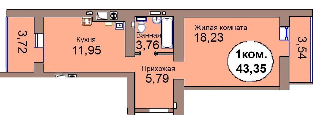 1-комн. кв. МКР Васильково Дом 3 по ГП секция 1, кв. 82