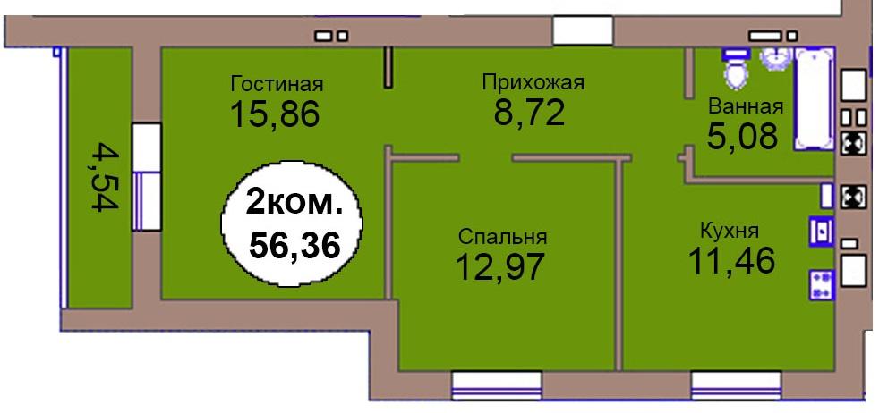 2-комн. кв. МКР Васильково Дом 3 по ГП секция 2, кв. 134