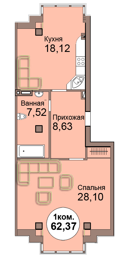 1-комн. кв. по пр. Мира 83, секция 1, кв 20 в Калининграде