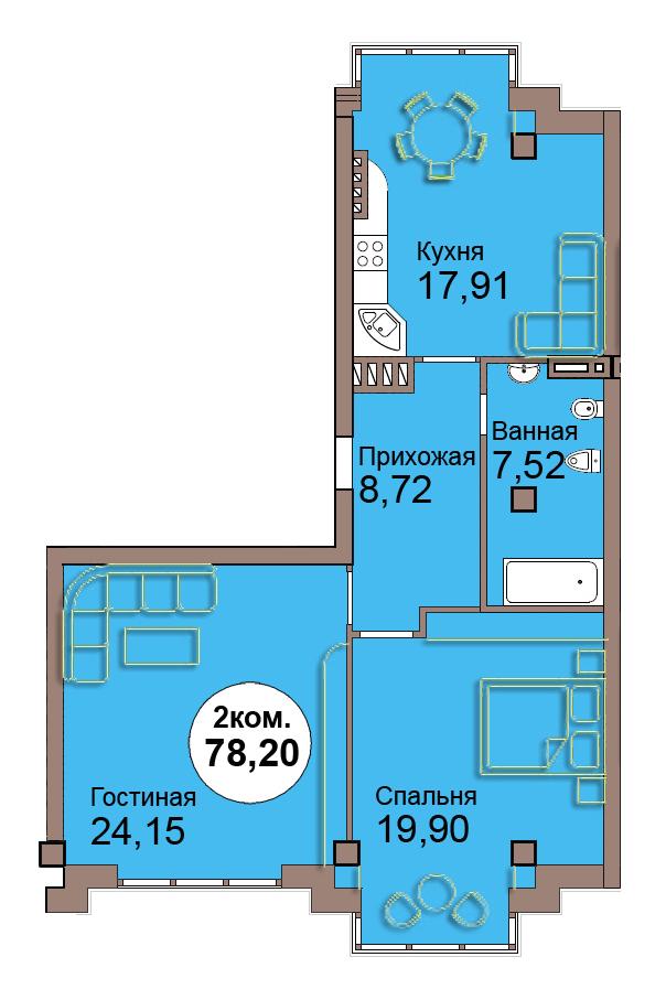 2-комн. кв. по пр. Мира 83, секция 1, кв 5 в Калининграде
