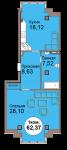 1-комнатная квартира по пр. Мира 83, секция 1, кв 2
