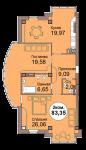 2-комнатная квартира по пр. Мира 83, секция 1, кв 4