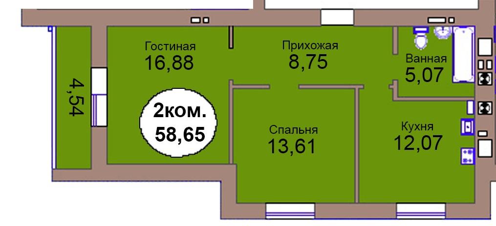 2-комн. кв. МКР Васильково Дом 3 по ГП секция 2, кв. 163 в Калининграде