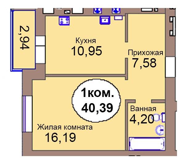 1-комн. кв. МКР Васильково Дом 3 по ГП секция 2, кв. 105 в Калининграде
