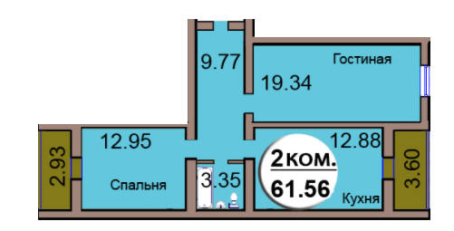 2-комн. кв. МКР Васильково Дом 3 по ГП секция 2, кв. 119 в Калининграде