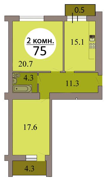 2-комн. кв. по ул. Осенняя 6Б, секция 3, кв. №105 в Калининграде