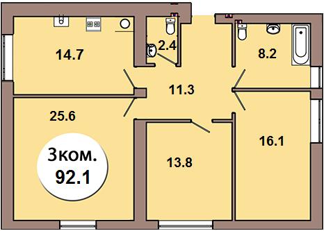 3-комн. кв. по ул. Шахматная 2Б, секция 4, кв 135