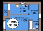 1-комн. кв. МКР Васильково Дом 3 по ГП секция 1, кв. 6