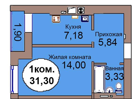 1-комн. кв. МКР Васильково Дом 3 по ГП секция 1, кв. 6 в Калининграде
