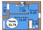 1-комн. кв. МКР Васильково Дом 3 по ГП секция 1, кв. 78 в Калининграде