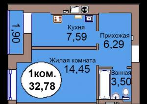 1-комн. кв. МКР Васильково Дом 3 по ГП секция 1, кв. 78