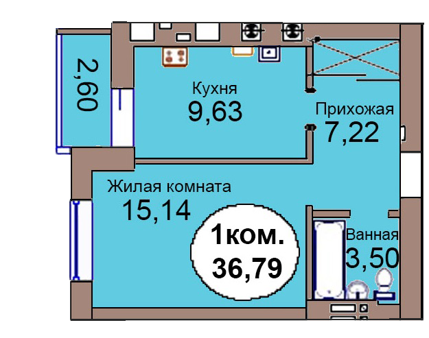 1-комн. кв. МКР Васильково Дом 3 по ГП секция 1, кв. 92 в Калининграде