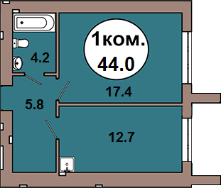 1-комн. кв.  по ул. Шахматная 2A, секция 1, кв 3 в Калининграде