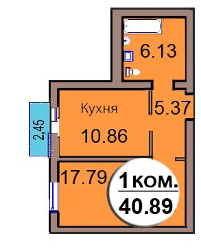 1-комн. кв. МКР Васильково Дом 3 по ГП секция 2, кв. 144 в Калининграде