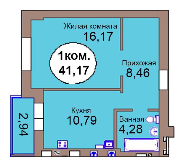 1-комн. кв. МКР Васильково Дом 3 по ГП секция 2, кв. 100