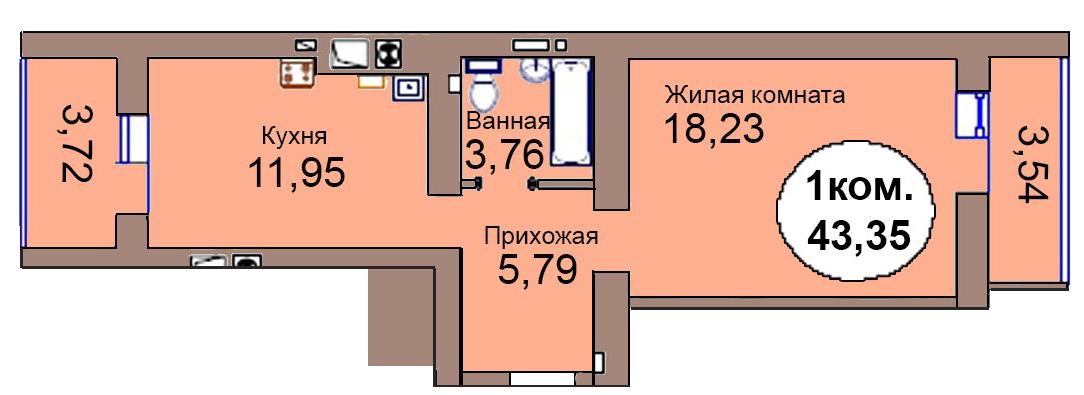 1-комн. кв. МКР Васильково Дом 3 по ГП секция 1, кв. 90