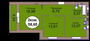 2-комн. кв. МКР Васильково Дом 3 по ГП секция 2, кв. 152