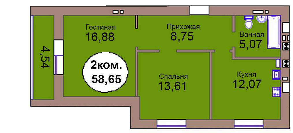 2-комн. кв. МКР Васильково Дом 3 по ГП секция 2, кв. 152 в Калининграде