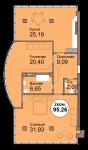 2- Комнатная кв. 95,26м. Мира 83