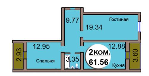 2-комн. кв. МКР Васильково Дом 3 по ГП секция 2, кв. 113 в Калининграде