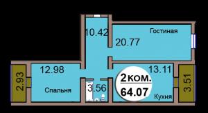 2-комн. кв. МКР Васильково Дом 3 по ГП секция 2, кв. 167 в Калининграде