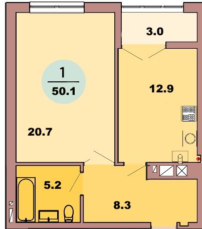 1-комн. кв. по ул. Красная 139Б, секция 2, кв 91 в Калининграде