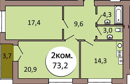 2-комн. кв. по ул. Шахматная 2В, секция 1, кв 38 в Калининграде