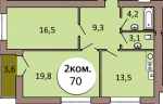 2-комн. кв. по ул. Шахматная 2В, секция 1, кв 18 в Калининграде