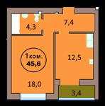 1-комн. кв. по ул. Красная 139А, секция 3, кв 115 в Калининграде