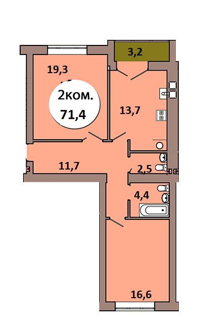 2-комн. кв. по ул. Шахматная, 2Б кв. 126 в Калининграде